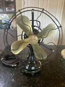 Antique Ge Oscillating Fan. Just Reworked Brass, Cast, 3 Speeds. Early 1920's