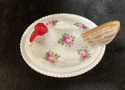 Vintage Westmoreland Milk Glass Hen On Nest Hand Painted Signed By Artist Dish