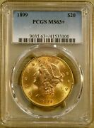 1899 Pcgs Ms63+ 20 Liberty Gold Double Eagle - Better Date