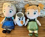Disney Store Frozen Toddler Anna And Elsa Plush 12 With Olaf Mug