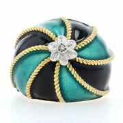 Green And Black Glass Enamel Swirl Dome Ring - 18k Gold Diamond Accent Size 5