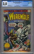 Werewolf By Night 32 Cgc 3.0 1st Moon Knight White Pages