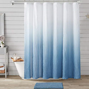 Jslove Ombre Textured Shower Curtain Set With Bath Mat For Bathroom 72 X 72 Inch