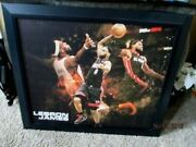 Lebron James Outstanding Quality 39x33 Framed Miami Heat Basketball Canvas