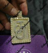 2.55 Ct Round Simulated Diamond Men's Custom Dog Tag Name Pendant In 925 Silver
