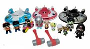 Lot Of Ryans World Toys 3 Flying Saucers 9 Figures 1 Motorcycle 2 Sledge Hammers