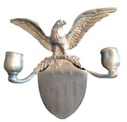 Colonial Casting Co. Meriden Conn Pewter Candle Holder Wall Sconce Eagle Shield