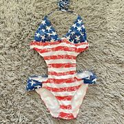 Venus One Piece Swimsuit Sz 4 Cut Out Usa Flag 4th July Red Blue Lined Strappy