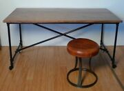 .industrial Metal Base And Solid Timber Top Table / Desk - 160 X 80 X 76cm