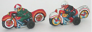 2 Vintage Tin Lithograph Motorcycles Rider Toy Friction Motor 1960s Motorcycles