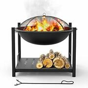 Portable Outdoor Wood Fire Pit - 2-in-1 Steel Bbq Grill 26 Wood Burning Fire Pi