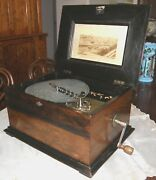 Antique Rosewood Disc Music Box Polyphon Including 28 Discs C. 1870+