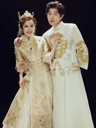 Champagne Cheongsam Embroidery Chinese Wedding Dress Traditional Clothes Qipao