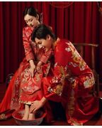 Embroidery Oriental Vintage Chinese Traditional Wedding Dress Long Clothes Qipao