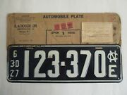 Super 1927 North Carolina License Plate Tag With Registration And Wrapper
