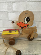Vintage Wood Pull Toy Duck Movable Parts Playing Xylophone Wooden Beads Wheels
