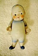Antique All Bisque Doll Molded Clothes Mij Vintage Nippon Japan
