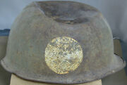 Incredible Battle Damaged Relic Ww2 M1 Us Helmet 101st Airborne Insignia