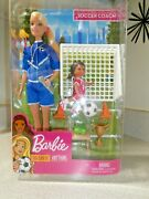 Barbie You Can Be Anything Soccer Coach 2 Doll Set With Accessories New