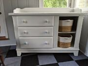 Bassett Baby Changing Dresser Custom Farmhouse White With Drawers And Shelves