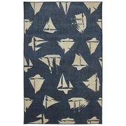 Mohawk Black Sailing Boat Ships Yacht Contemporary Area Rug Nautical Z0372 A405