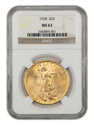 1928 20 Ngc Ms63 - Saint Gaudens Double Eagle - Gold Coin