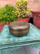 Rare Antique Brass Handcrafted Indian Kitchenware Storage Box With Engraved Lid