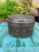 Primitive Antique Handcrafted Brass Rich Patina Indian Kitchenware Container Box
