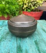 1850and039s Antique Handcrafted Brass Rich Patina Indian Kitchenware Container Box