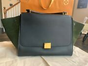 Rare Candeacuteline Trapeze In British Green Leather With Suede Wings Discontinued