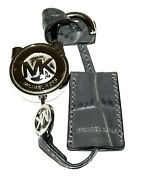 Gray Embossed Leather And Silver Brass Padlock Fob