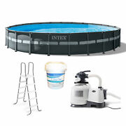 Intex 24and039 X 52 Ultra Xtr Frame Above Ground Pool Set With 3 In Chlorine Tablets
