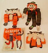 3 Vintage Halloween Decoration Early Beistle 1950s Cat Witch Dancers Honeycomb