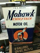 Vintage Rare Nice Vibrant Mohawk Chieftain Motor Oil White Can 1 Gal Gallon