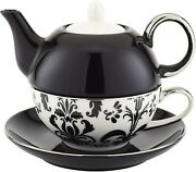 Yedi Houseware Porcelain Damask Individual Teapot And Teacup, Black And White