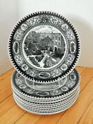 Complete Set Of 12 Vtg Culver Military Academy Scenic Plates Shenango China 1932