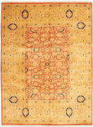 Vintage Geometric Hand-knotted Carpet 9and0391 X 12and0392 Traditional Wool Area Rug
