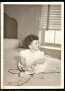 Antique Photograph Adorable Little Girl Sitting On Bed W/ Chenille Bedspread