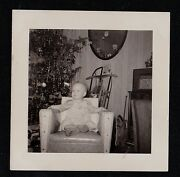 Antique Photograph Adorable Baby Sitting In Chair By Christmas Tree Sled Toys