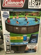 Coleman Power Steel 18and039 X 48 Round Above Ground Swimming Pool Set W/ Pump