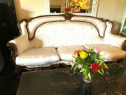 19th Century Hand Carved Antique Italian Gilt-wood Rococo Sofa Matching Chairs