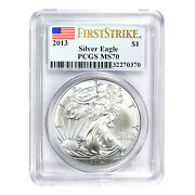 2013 1 American Silver Eagle Ms70 Pcgs - First Strike