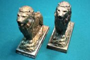 Set Of 2 Vintage 1950's Harris Trust And Savings Brass Lion Coin Bank With Key