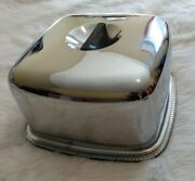 Vintage 12.5 Kromex Square Glass Cake Plate And Chrome Cover Lid
