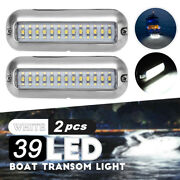 2x 4.7'' White 316ss Cover 39 Led Underwater Pontoon Boat Transom Fishing
