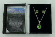 """The Bradford Exchange Helenite And Diamond Necklace And Earrings Set """"dazzling Disc"""""""