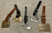 Vintage Construction Machine Watch Key Fobs Lot Of 5 Leather