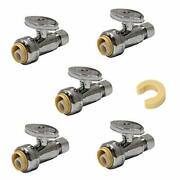 Pack Of 5 Efield Push Fit 1/4 Turn Straight Stop Valve Water Shut Off 1/2 Pus...