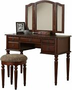 Bobkona F4071 St. Croix Collection Vanity Set With Stool Cherry