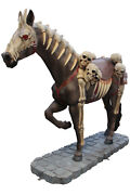 82 Undead Brown Horse Skeleton Resin Statue With Base Halloween Prop Display